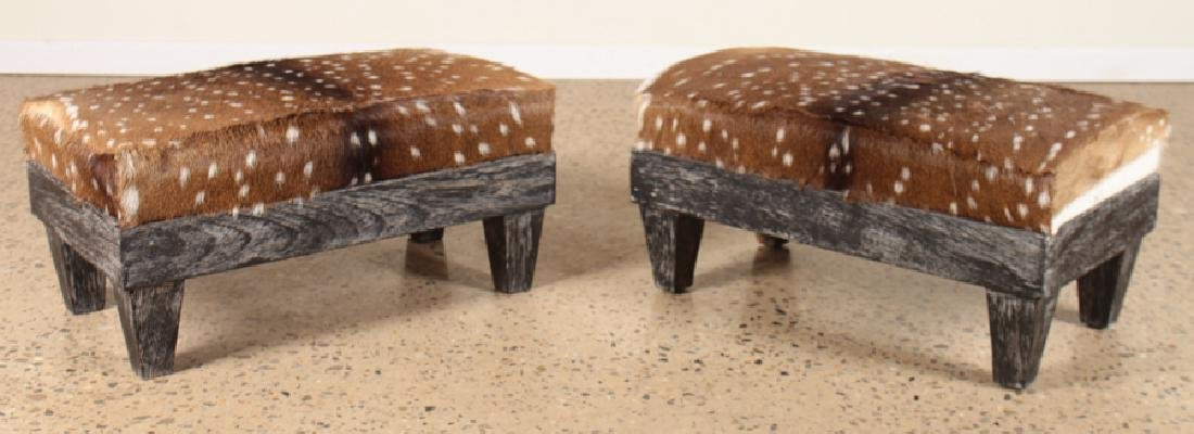 PAIR EBONIZED CERUSED OAK BENCHES DEER HIDE
