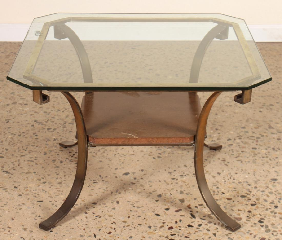 BRONZE AND GLASS MAHOGANY SHELF END TABLE C.1960