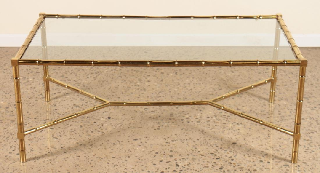 FAUX BAMBOO BRASS COFFEE TABLE GLASS TOP C.1960