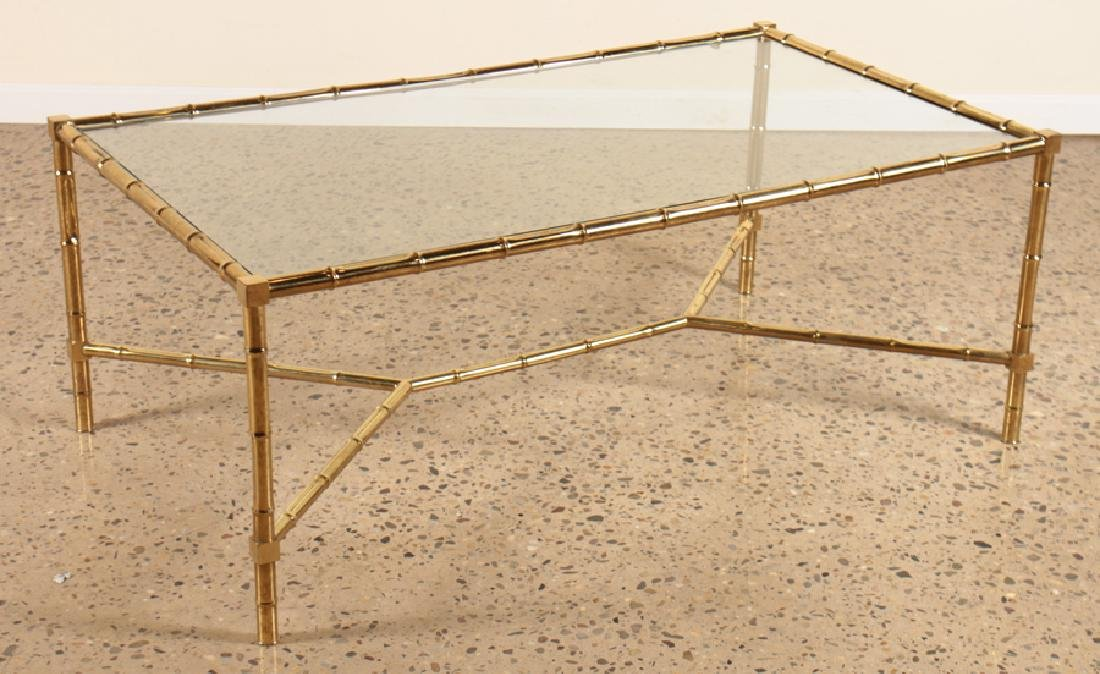 FAUX BAMBOO BRASS COFFEE TABLE GLASS TOP C.1960 - 2