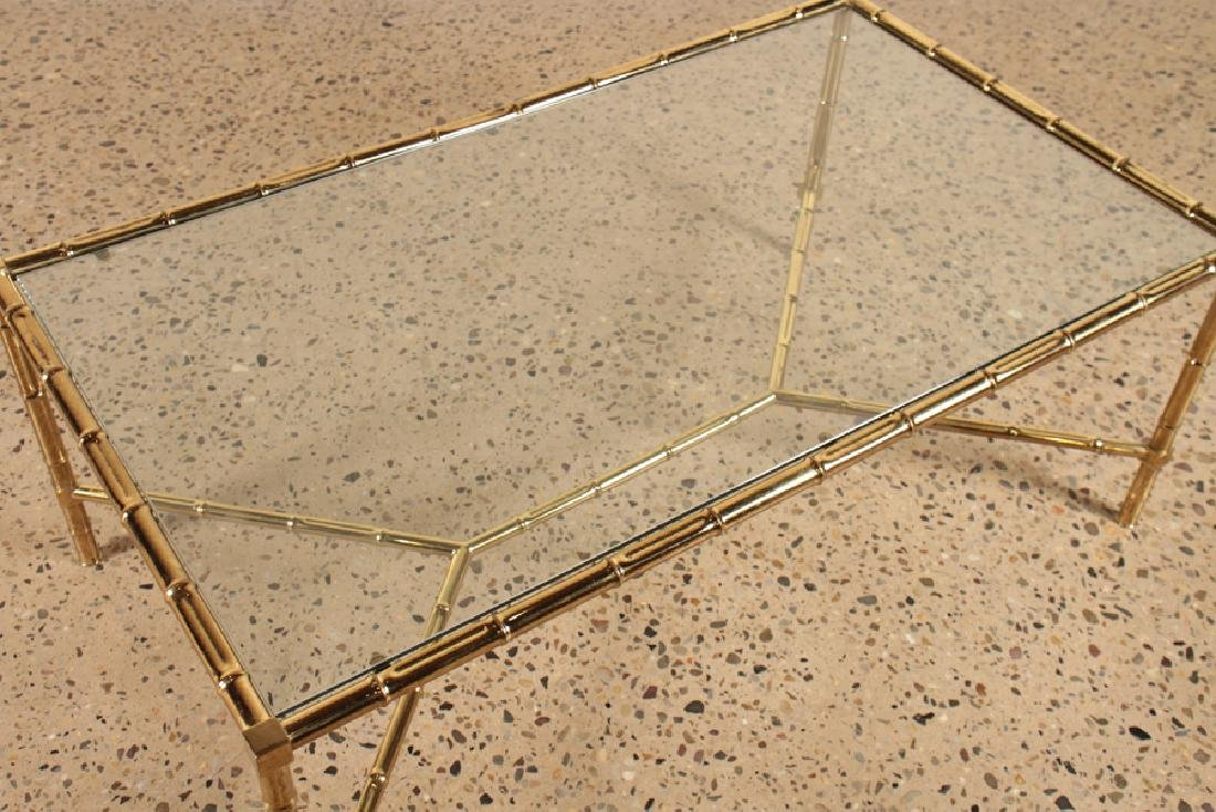FAUX BAMBOO BRASS COFFEE TABLE GLASS TOP C.1960 - 3