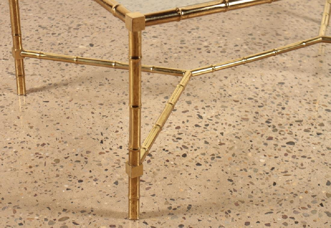 FAUX BAMBOO BRASS COFFEE TABLE GLASS TOP C.1960 - 4
