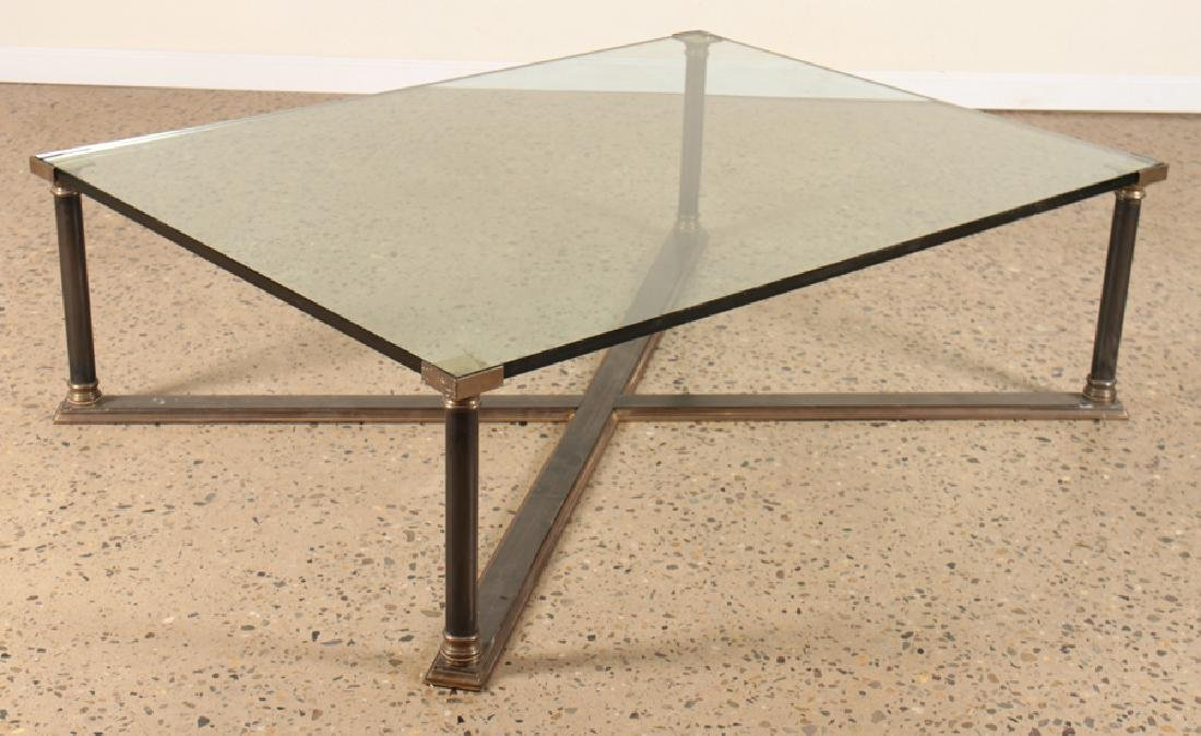 BRONZE IRON X-FORM COFFEE TABLE GLASS TOP C.1960