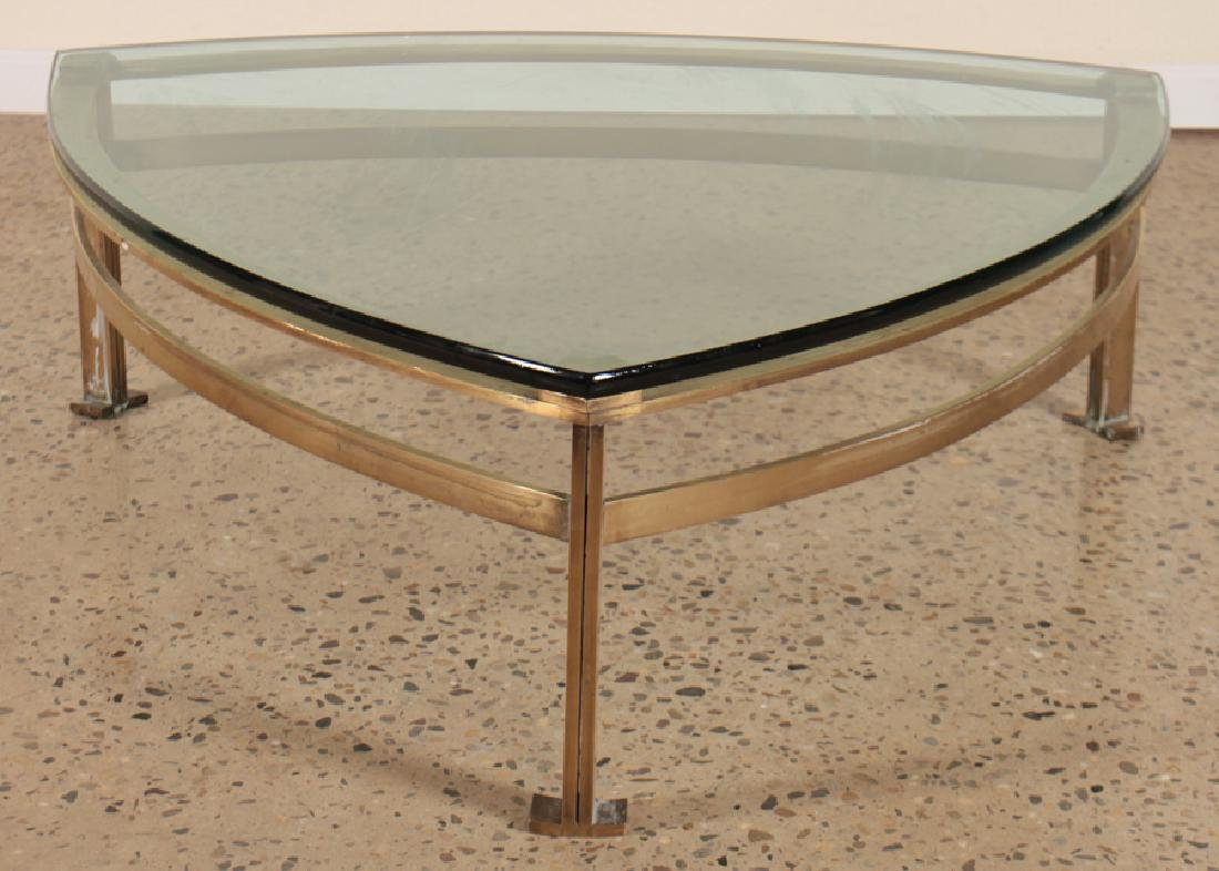 BRONZE AND GLASS TRIANGULAR COFFEE TABLE C.1950