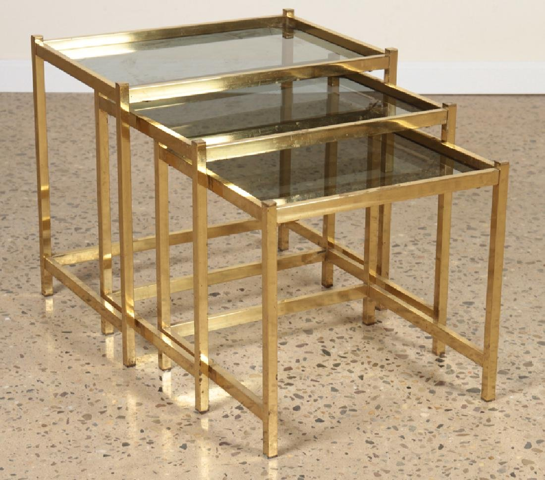 3 BRONZE AND GLASS NESTING TABLES CIRCA 1960