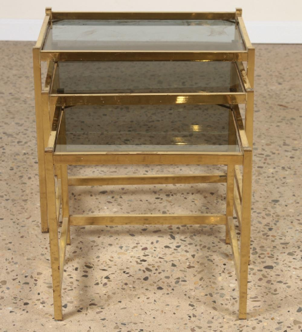 3 BRONZE AND GLASS NESTING TABLES CIRCA 1960 - 2