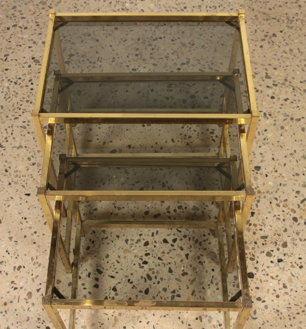 3 BRONZE AND GLASS NESTING TABLES CIRCA 1960 - 3