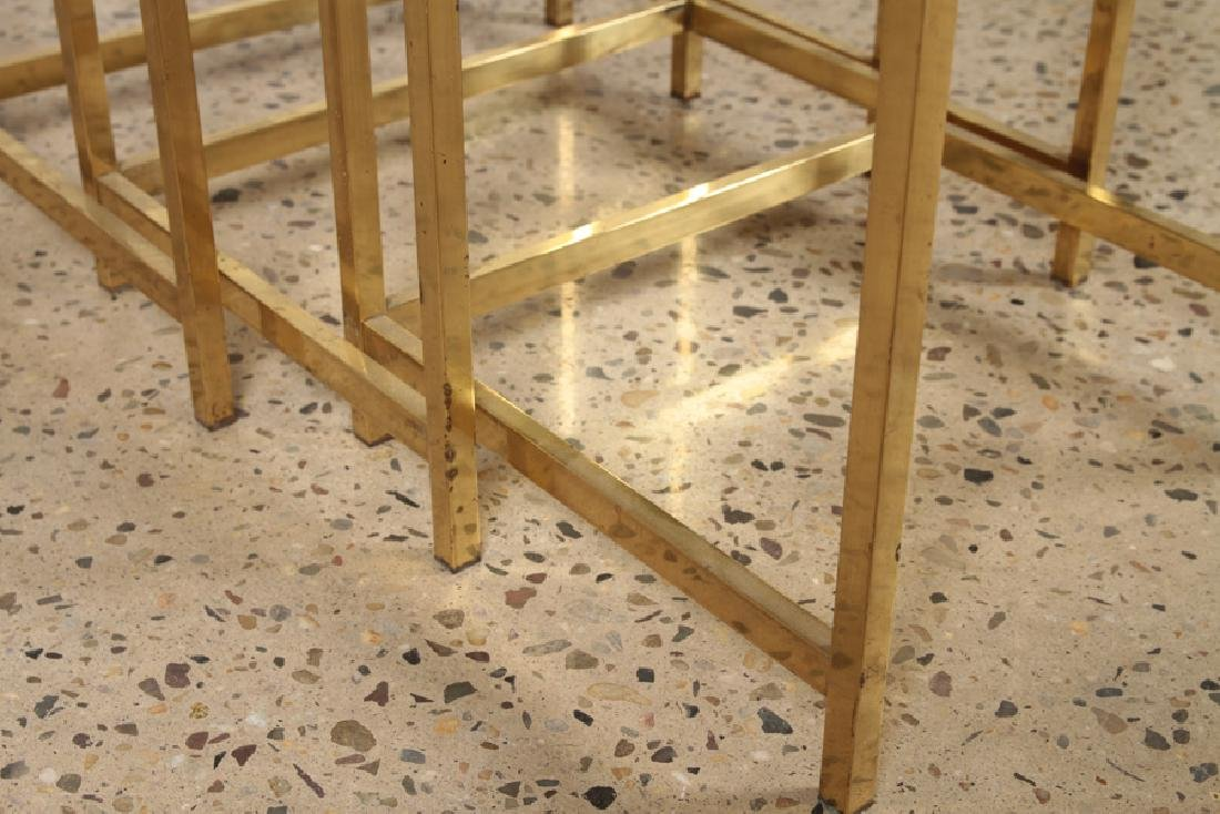 3 BRONZE AND GLASS NESTING TABLES CIRCA 1960 - 5