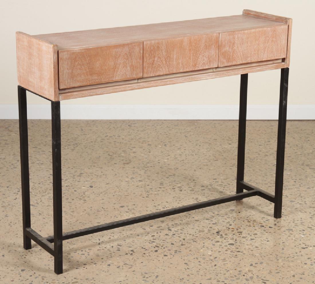 MID CENTURY MODERN CERUSED OAK CONSOLE TABLE 1960