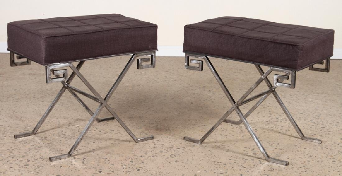 PAIR OF JEAN MICHEL FRANK STYLE IRON BENCHES