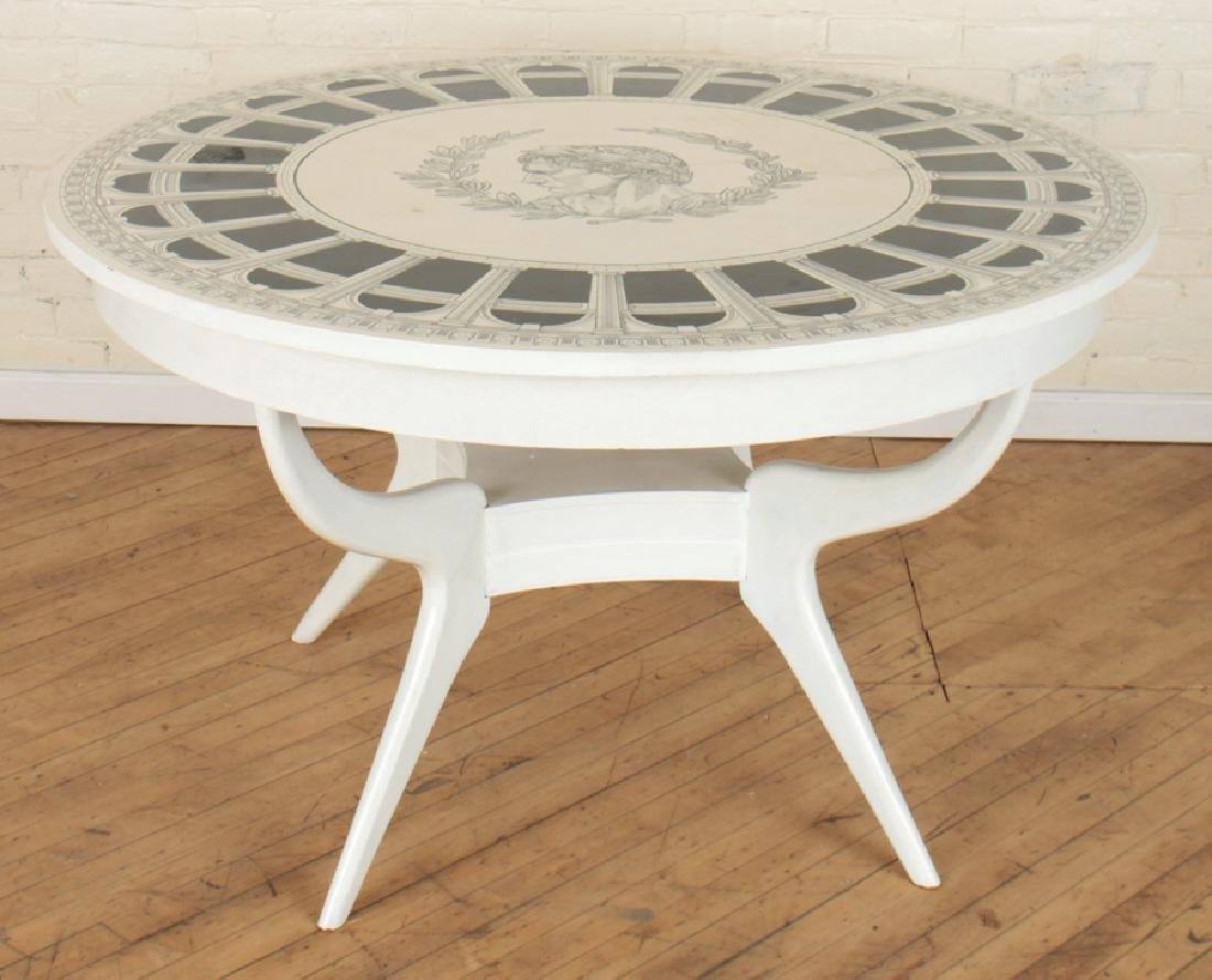 FORNASETTI STYLE PAINTED ROUND TABLE CIRCA 1960