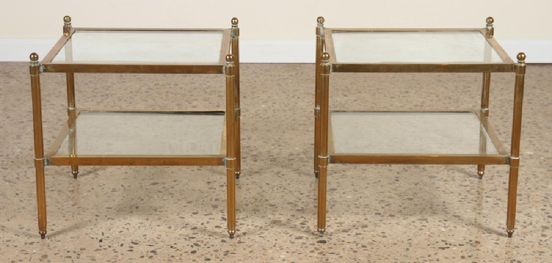 PAIR MID CENTURY MODERN BRASS GLASS END TABLES