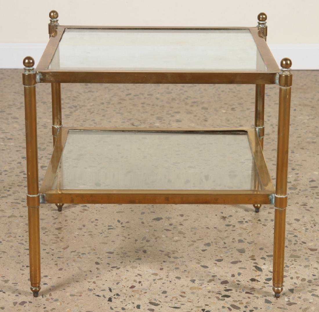 PAIR MID CENTURY MODERN BRASS GLASS END TABLES - 2