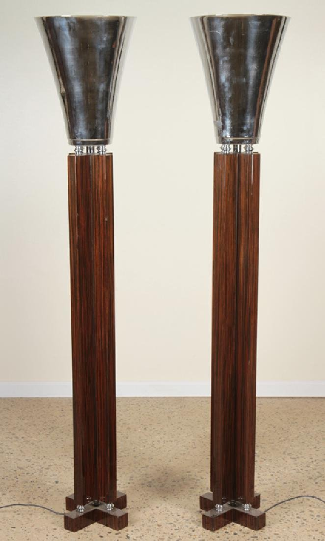 PAIR ART DECO STYLE MACASSAR FLOOR LAMPS