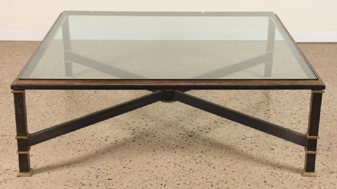 LARGE IRON GLASS COFFEE TABLE BRONZE TRIM C.1940