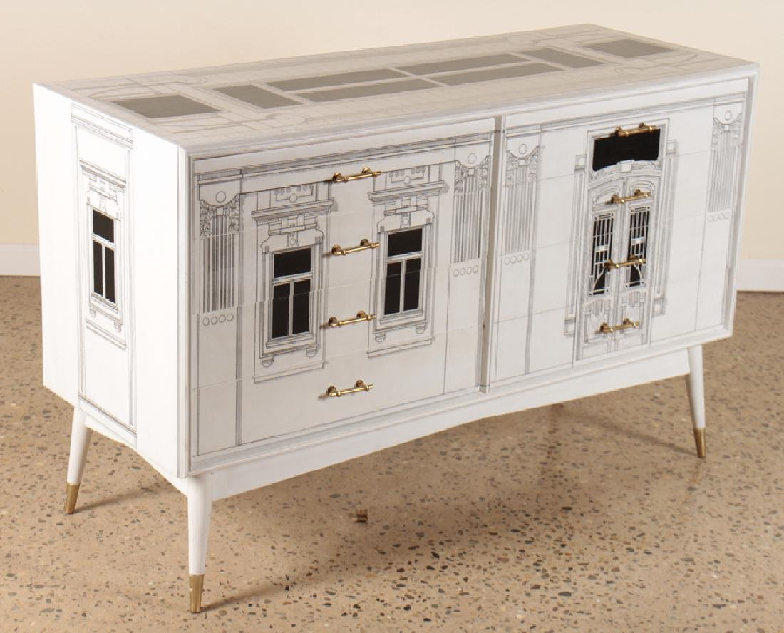 PAINTED FORNASETTI STYLE COMMODE CIRCA 1960 - 2