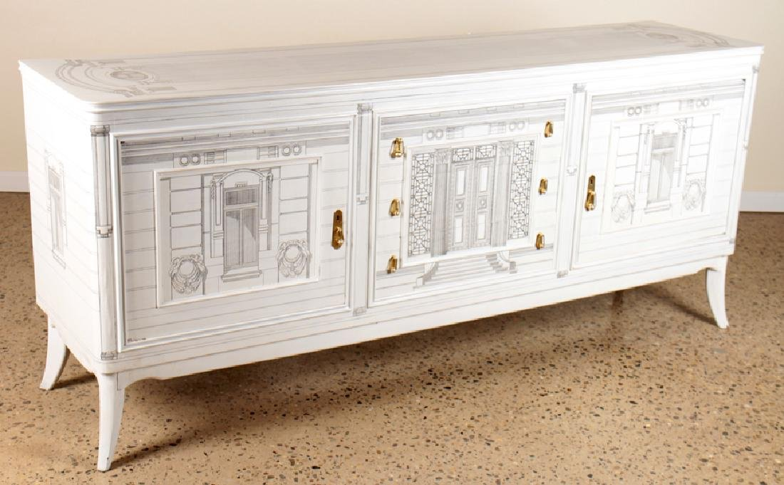 PAINTED FORNASETTI STYLE SIDEBOARD CIRCA 1960 - 2