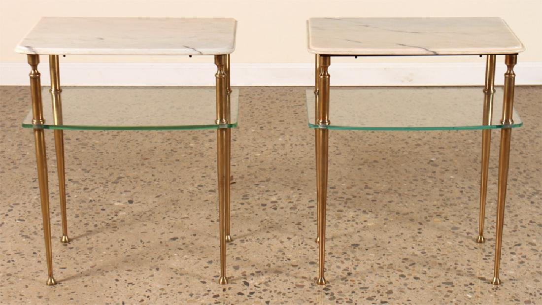 PAIR OF TWO TIER MARBLE AND GLASS SIDE TABLES