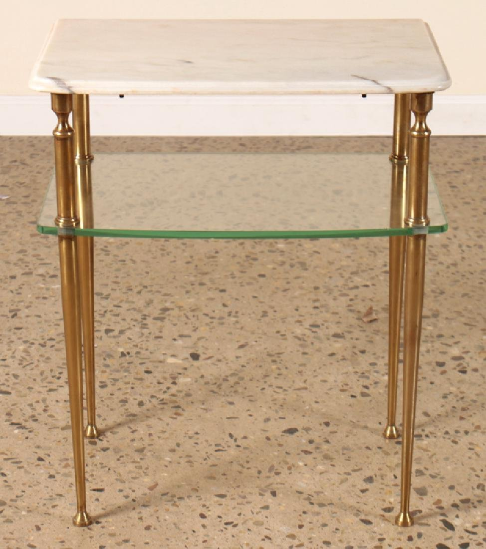 PAIR OF TWO TIER MARBLE AND GLASS SIDE TABLES - 2