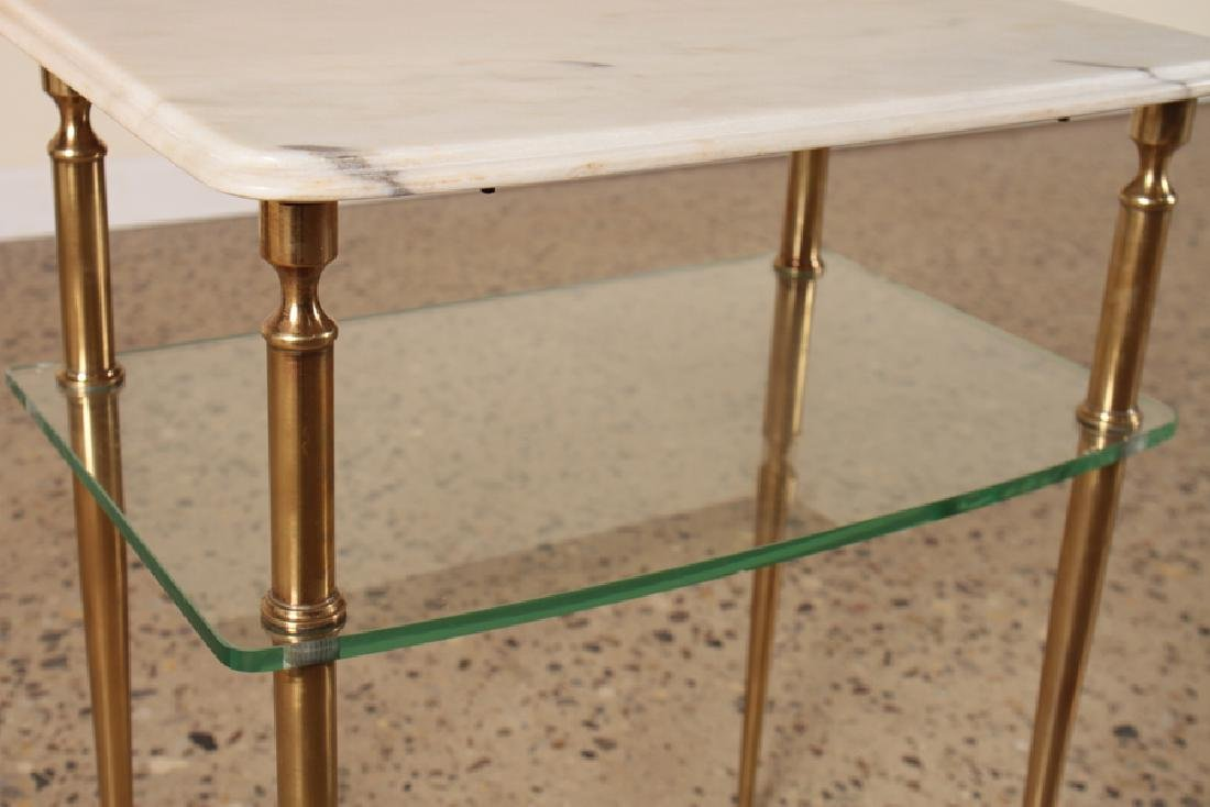 PAIR OF TWO TIER MARBLE AND GLASS SIDE TABLES - 4