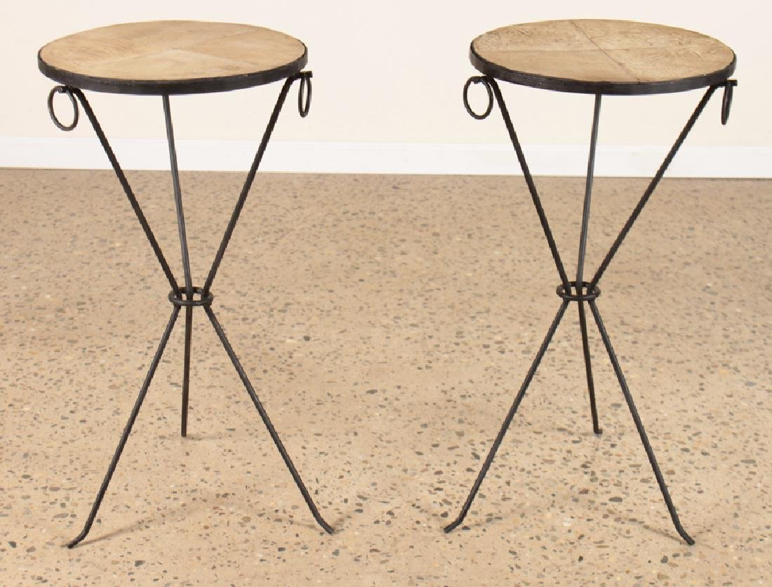 PAIR JEAN-MICHEL FRANK STYLE IRON DRINKS TABLES