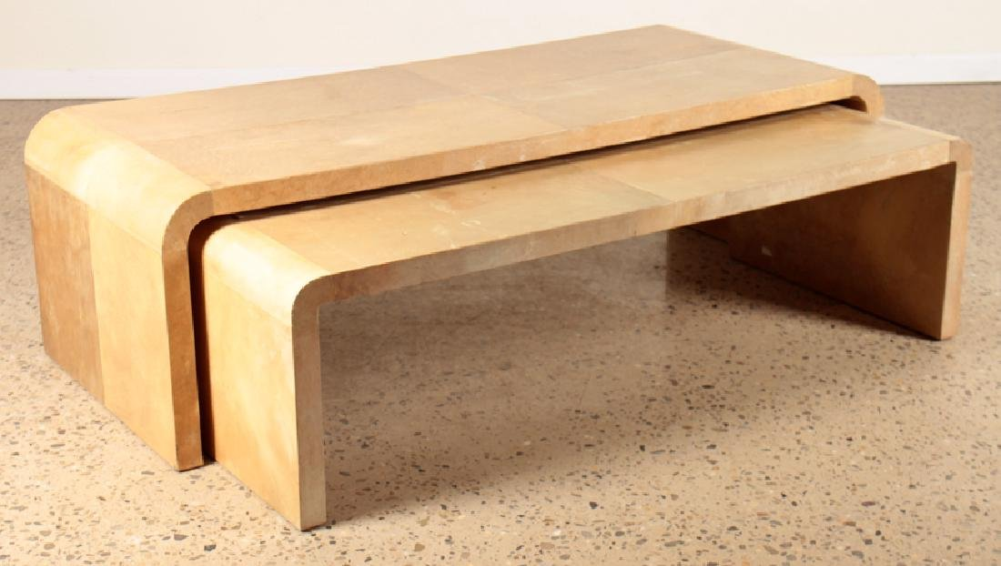 2 PARCHMENT COVERED NESTING TABLES