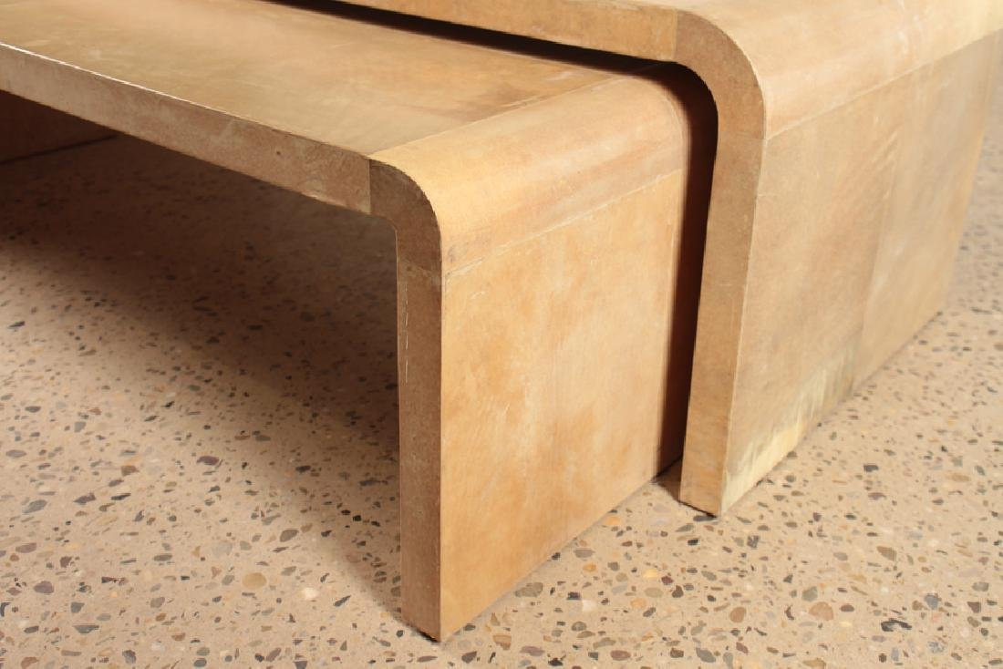 2 PARCHMENT COVERED NESTING TABLES - 4