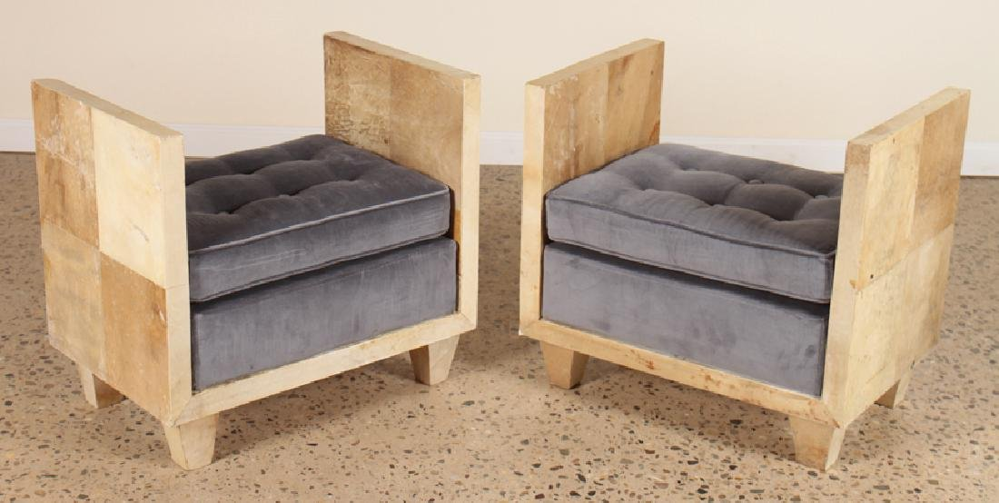 PAIR JEAN-MICHEL FRANK STYLE PARCHMENT BENCHES