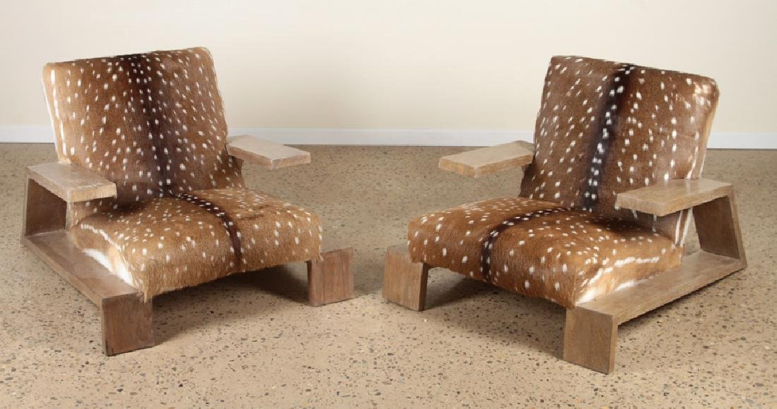 JEAN MICHEL FRANK STYLE OAK AND DEER SKIN CHAIRS