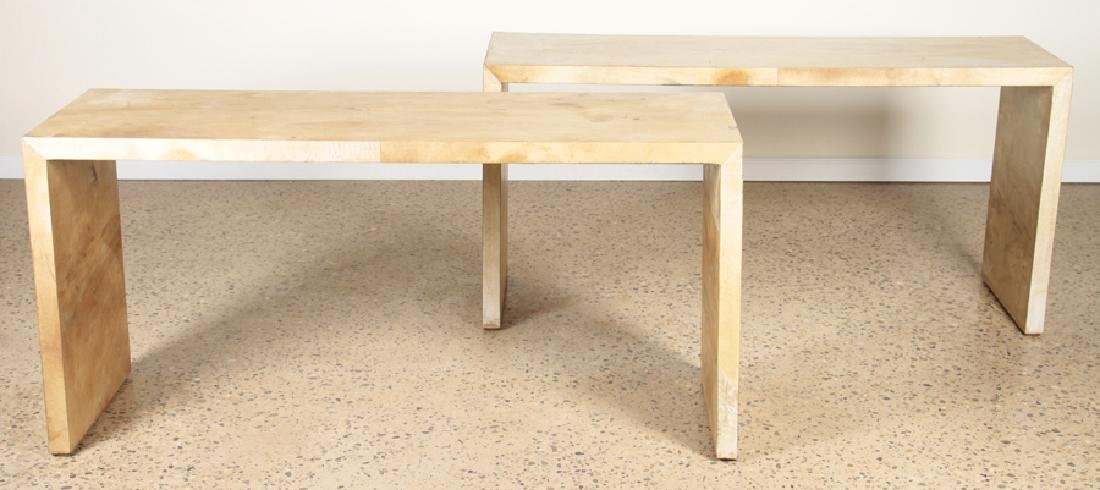 PAIR OF PARCHMENT COVERED CONSOLE TABLES