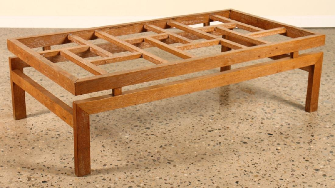 FRENCH CERUSED OAK GLASS TOP COFFEE TABLE