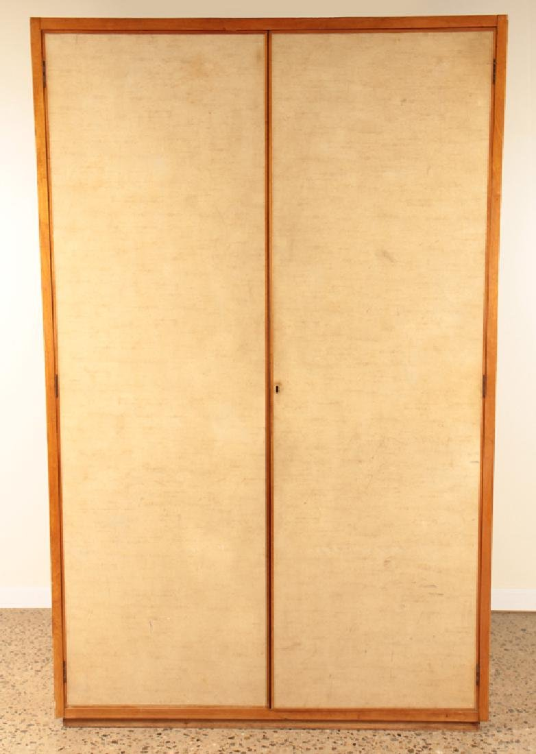 MAHOGANY GENTLEMAN'S WARDROBE PARCHMENT COVERED