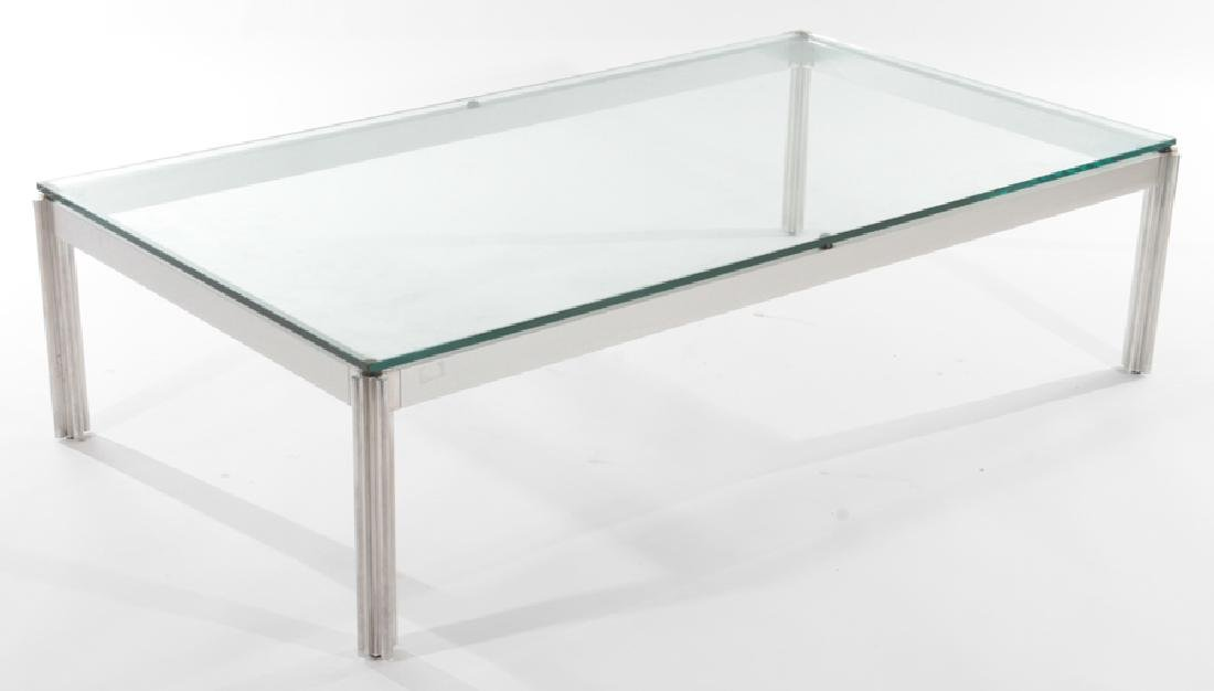 ITALIAN STEEL CHROME GLASS TOP COFFEE TABLE C1970
