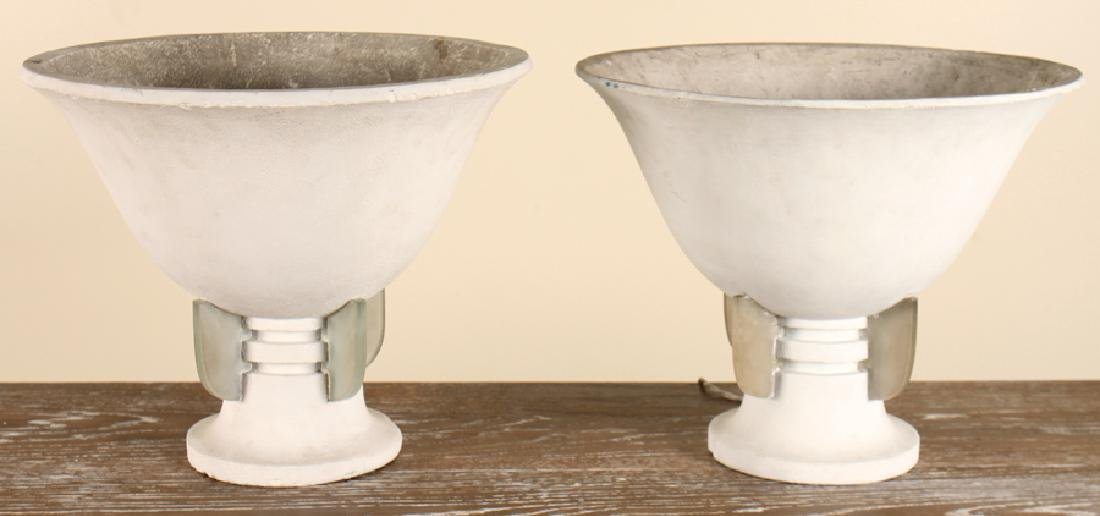 PAIR OF FRENCH PLASTER AND GLASS LAMPS