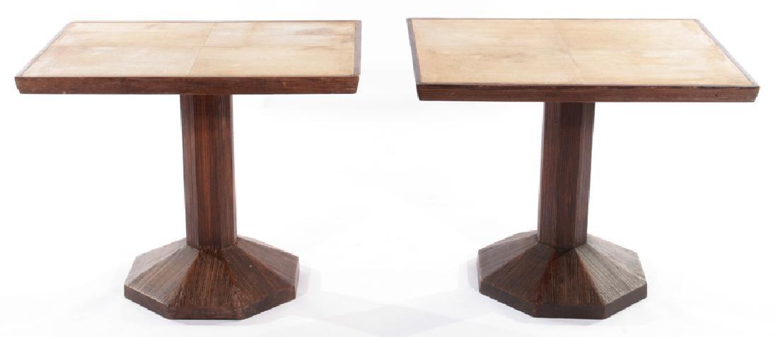 PAIR JEAN-MICHEL FRANK PEDESTAL PARCHMENT TABLES