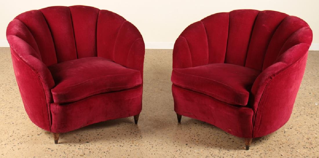 PAIR ITALIAN CLUB CHAIRS MANNER OF GIO PONTI 1950
