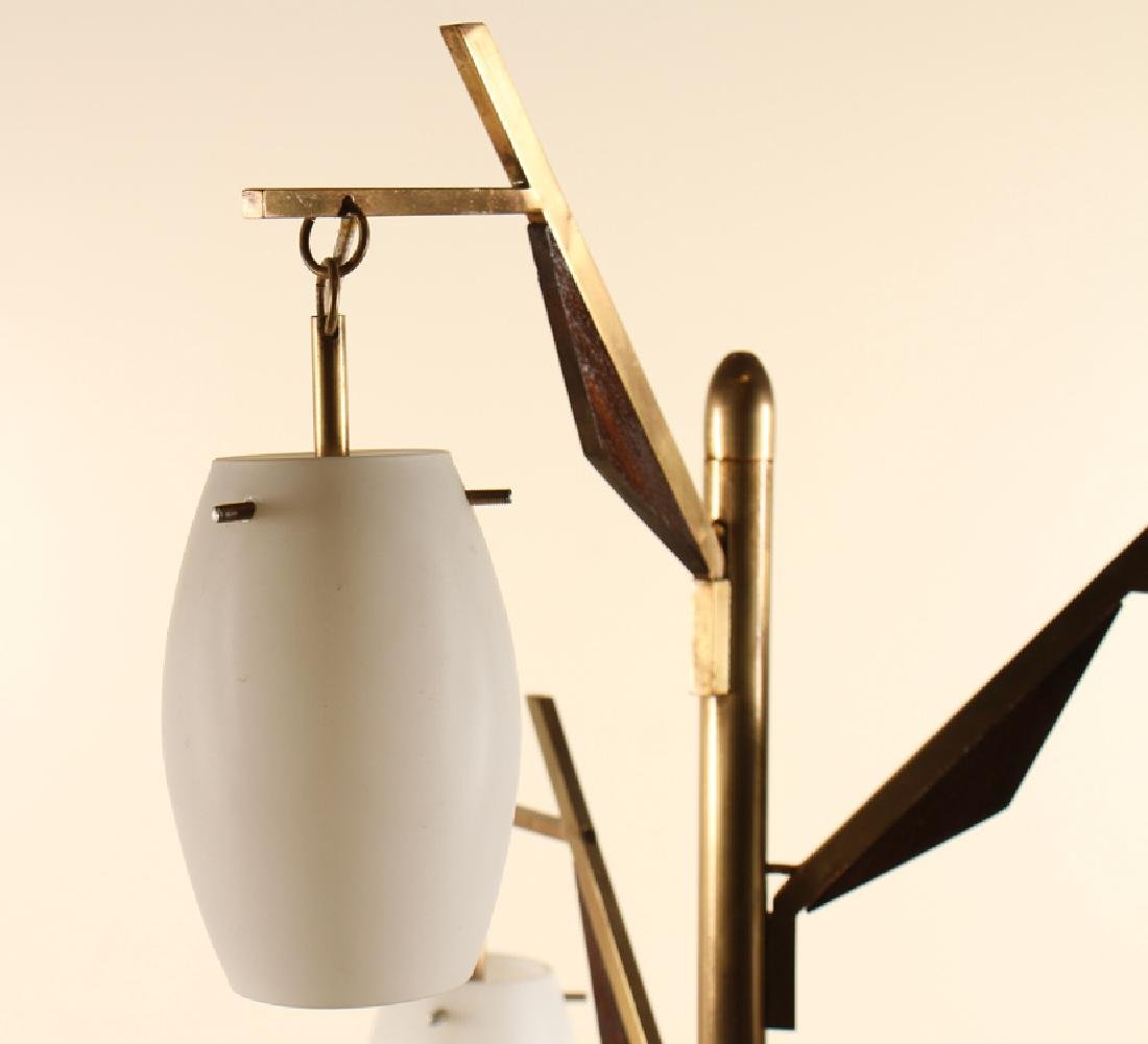 ITALIAN BRASS WOOD FLOOR LAMP GLASS GLOBES C.1950 - 2
