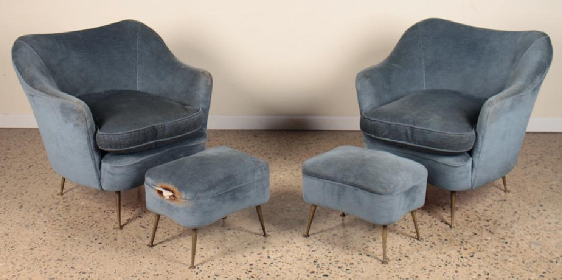 PAIR ITALIAN CLUB CHAIRS AND OTTOMANS CIRCA 1960