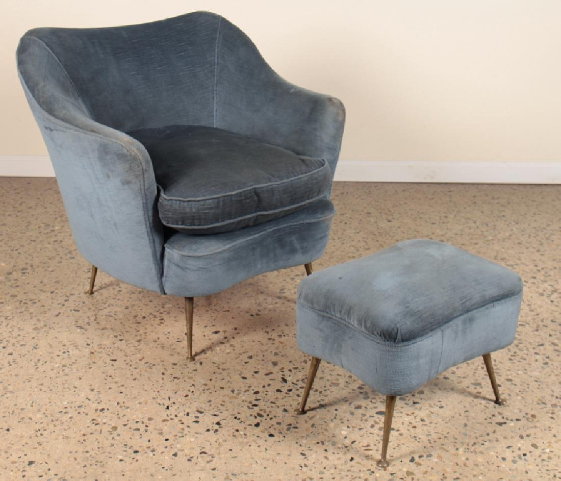 PAIR ITALIAN CLUB CHAIRS AND OTTOMANS CIRCA 1960 - 2