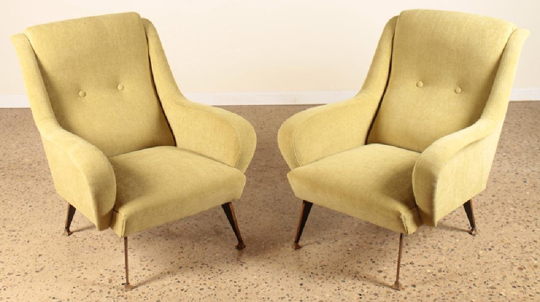 PAIR ITALIAN MID CENTURY MODERN ARM CHAIRS C.1960