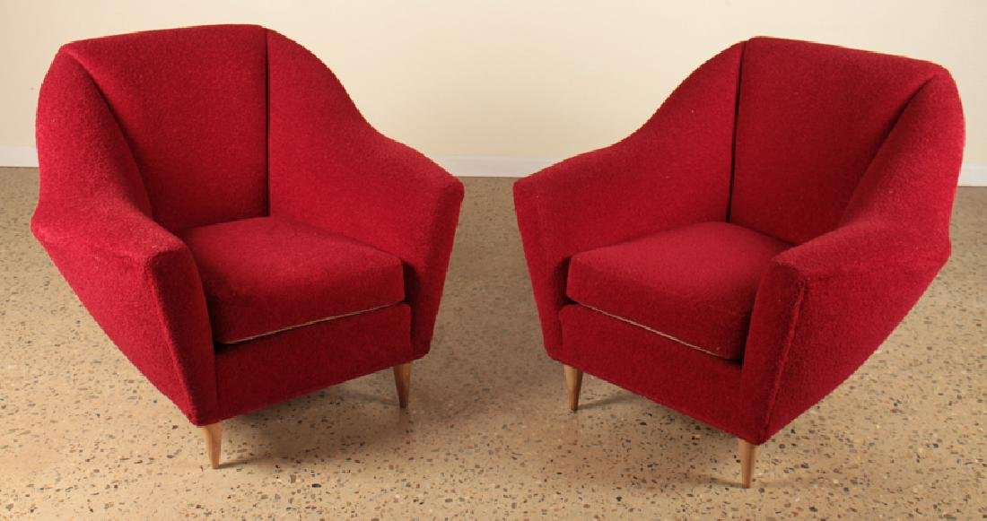 PAIR ITALIAN ICO PARISI UPHOLSTERED LOUNGE CHAIRS