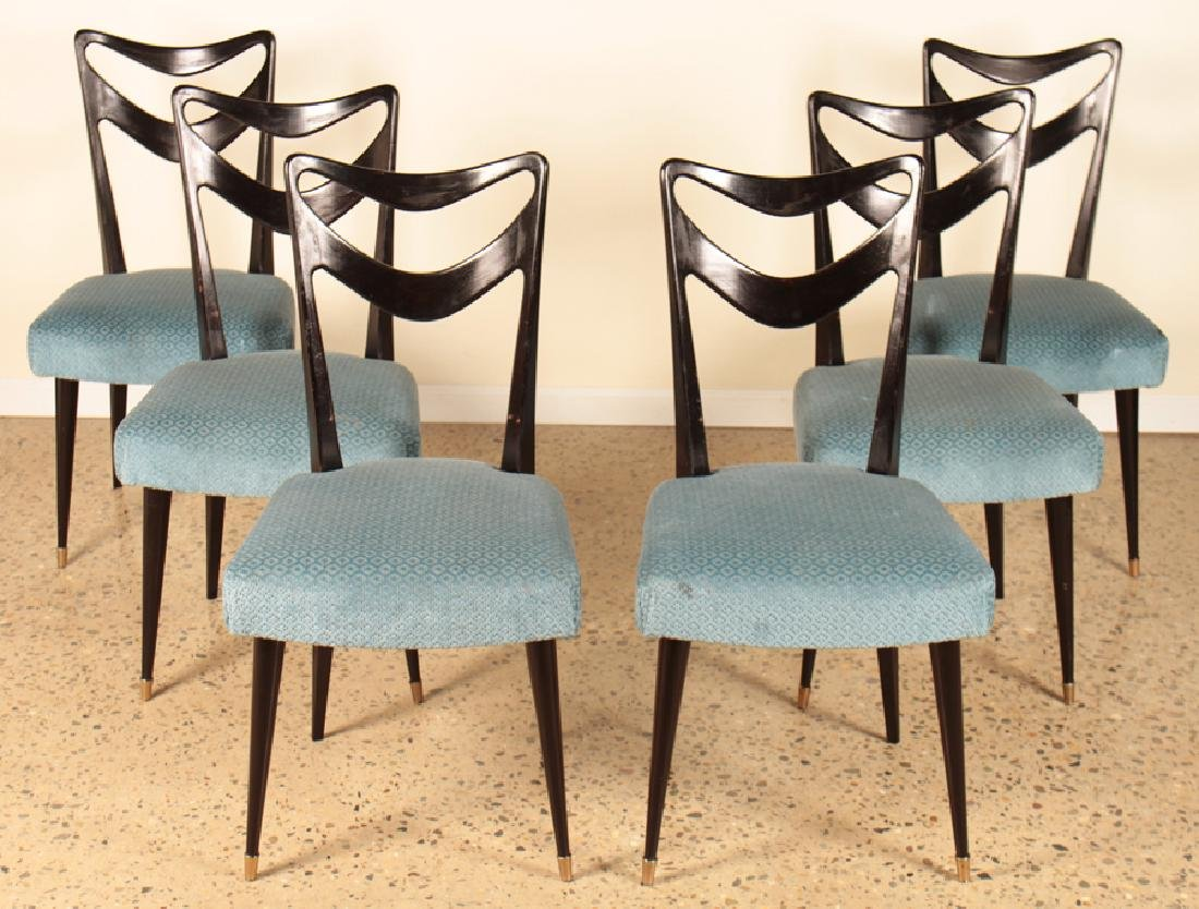 SET 6 ITALIAN EBONIZED DINING CHAIRS CIRCA 1950