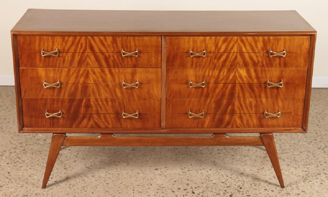 ITALIAN MAHOGANY COMMODE BRASS HARDWARE C.1960
