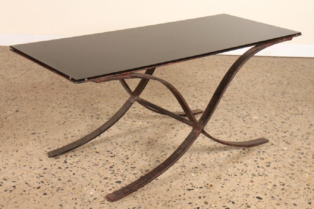 IRON COFFEE TABLE WITH SMOKED GLASS TOP
