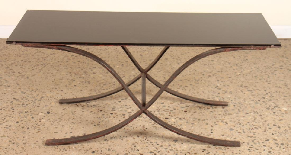 IRON COFFEE TABLE WITH SMOKED GLASS TOP - 2