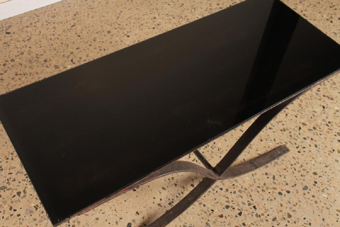 IRON COFFEE TABLE WITH SMOKED GLASS TOP - 3