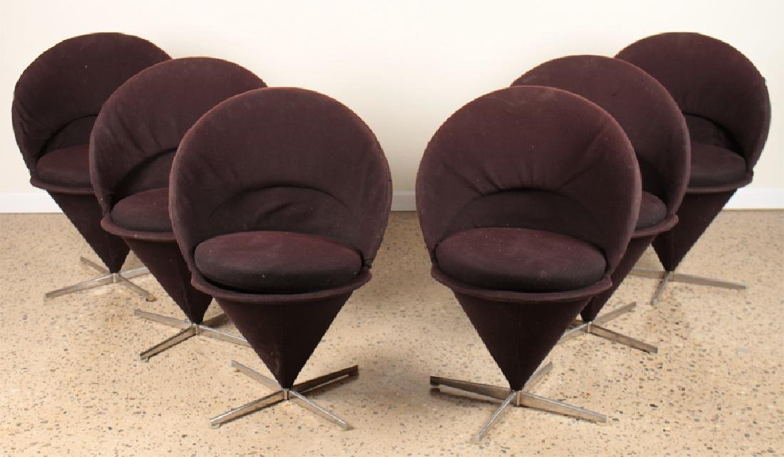 SET 6 ITALIAN CONE FORM VERNER PANTON DINING CHAIRS