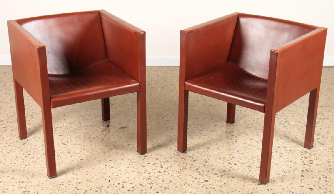 PAIR OF ITALIAN LEATHER CUBE FORM CHAIRS