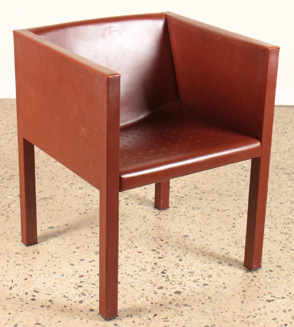 PAIR OF ITALIAN LEATHER CUBE FORM CHAIRS - 2