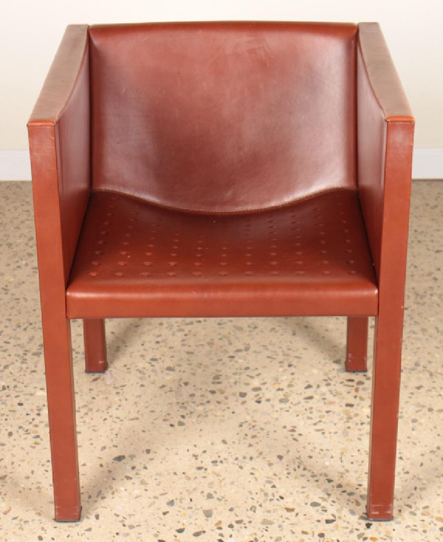 PAIR OF ITALIAN LEATHER CUBE FORM CHAIRS - 3